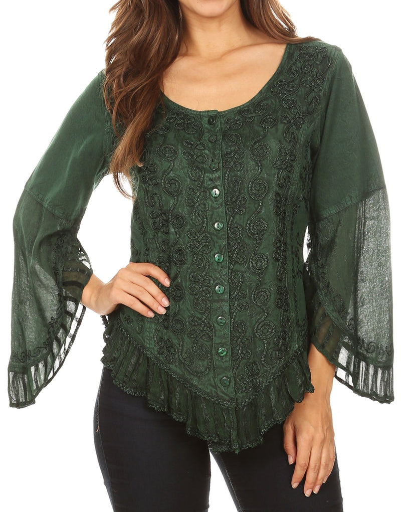 Sakkas Aura Womens Casual Ruffle Flare Crop Top Blouse Long Sleeves w/Embroidery