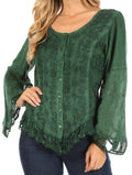 Sakkas Aura Womens Casual Ruffle Flare Crop Top Blouse Long Sleeves w/Embroidery#color_Green