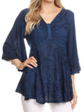 Sakkas Valeria Womens V neck  Bohemian Ethnic Casual Flare Blouse Top Embroidered#color_Navy