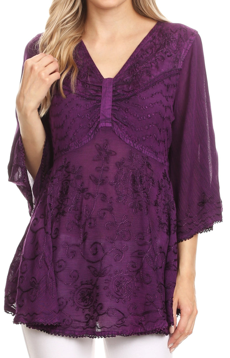 Sakkas Valeria Womens V neck  Bohemian Ethnic Casual Flare Blouse Top Embroidered