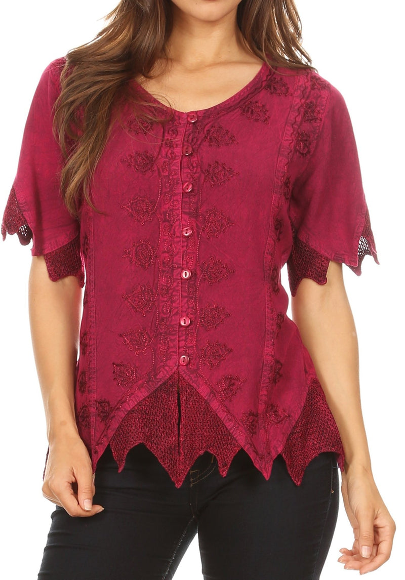 Sakkas Emma Womens Stonewashed V neck Short Sleeve Blouse Top Crochet Button Down