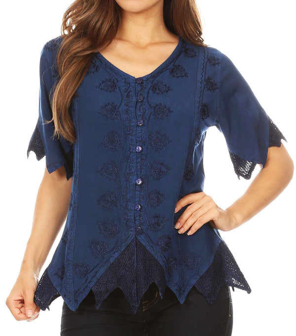 Sakkas Emma Womens Stonewashed V neck Short Sleeve Blouse Top Crochet Button Down#color_Blue