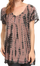 Sakkas Spala Long Tie Dye Embroidered Cap Sleeve Drop V Neck Blouse Shirt Top