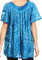 Sakkas Laylah Long Wide Short Sleeve Embroidery Lace Sequin Blouse Shirt Tunic Top