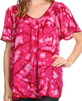 Sakkas Laylah Long Wide Short Sleeve Embroidery Lace Sequin Blouse Shirt Tunic Top#color_Fuchsia