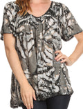 Sakkas Laylah Long Wide Short Sleeve Embroidery Lace Sequin Blouse Shirt Tunic Top#color_Gray