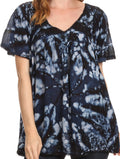Sakkas Laylah Long Wide Short Sleeve Embroidery Lace Sequin Blouse Shirt Tunic Top#color_Navy