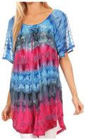 Sakkas Monet Long Tall Tie Dye Ombre Embroidered Cap Sleeve Blouse Shirt Top#color_Blue / Pink