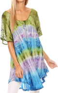 Sakkas Monet Long Tall Tie Dye Ombre Embroidered Cap Sleeve Blouse Shirt Top#color_Green / Purple