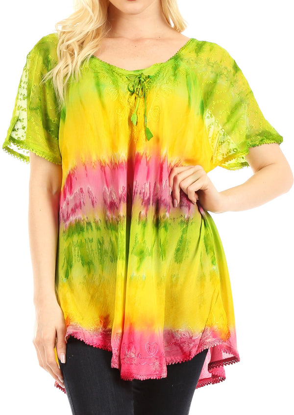 Sakkas Monet Long Tall Tie Dye Ombre Embroidered Cap Sleeve Blouse Shirt Top#color_Green / Yellow