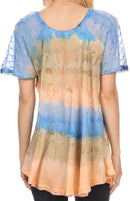 Sakkas Monet Long Tall Tie Dye Ombre Embroidered Cap Sleeve Blouse Shirt Top