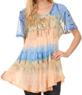 Sakkas Monet Long Tall Tie Dye Ombre Embroidered Cap Sleeve Blouse Shirt Top#color_Navy / Brown