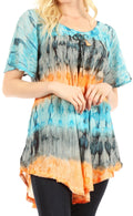 Sakkas Monet Long Tall Tie Dye Ombre Embroidered Cap Sleeve Blouse Shirt Top#color_Turquoise / Orange