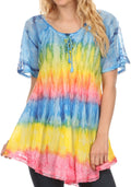 Sakkas Monet Long Tall Tie Dye Ombre Embroidered Cap Sleeve Blouse Shirt Top#color_Turquoise / Yellow