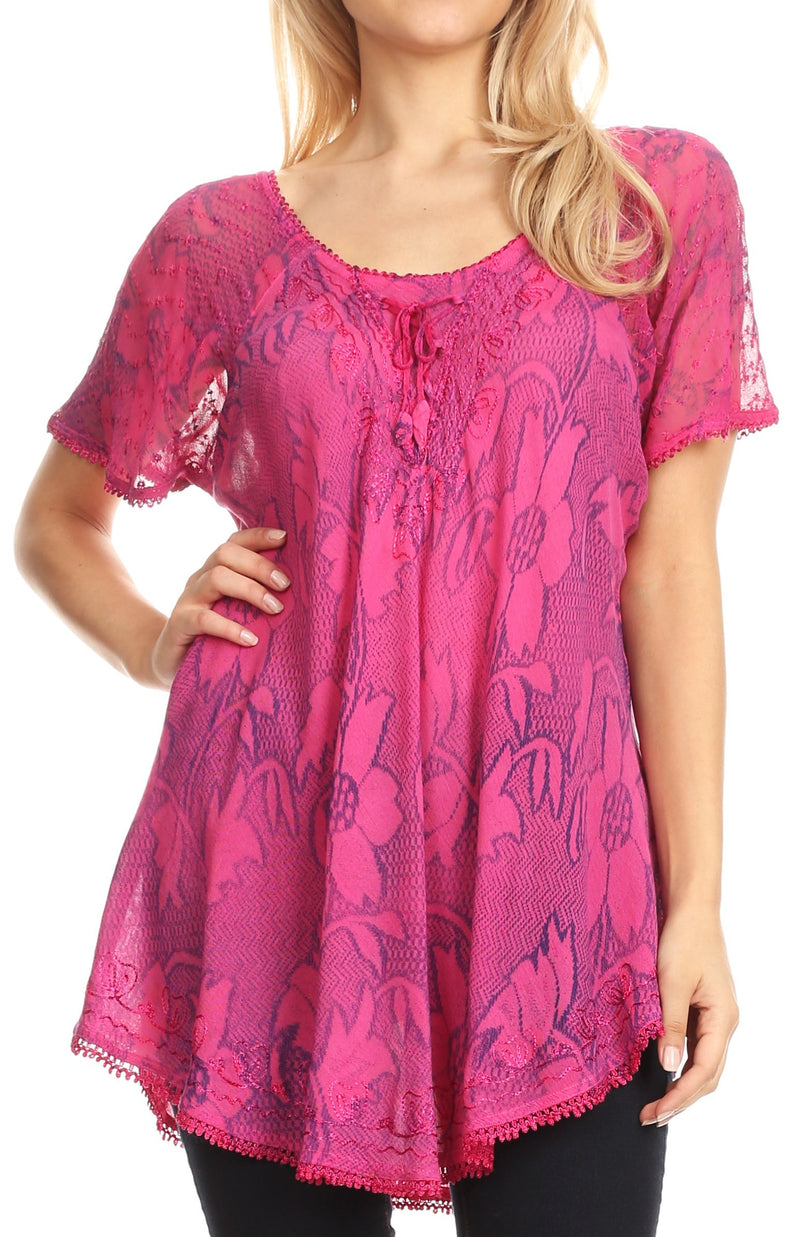 Sakkas Maliky Wide Corset Neck Floral Embroidered Cap Sleeve Blouse Top Shirt
