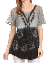 Sakkas Reya Lace Embroidered Cap Sleeve Corset Tie Dye Blouse Top Shirt