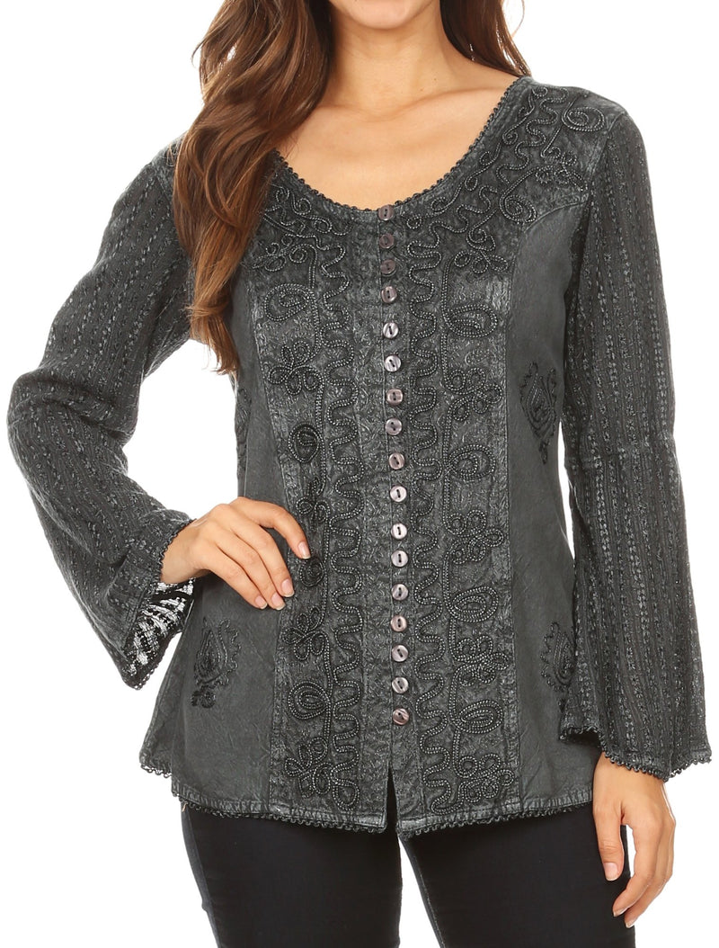 Sakkas Salma Womens Button Down Long Sleeve Blouse Top Shirt Stonewashed and Lace