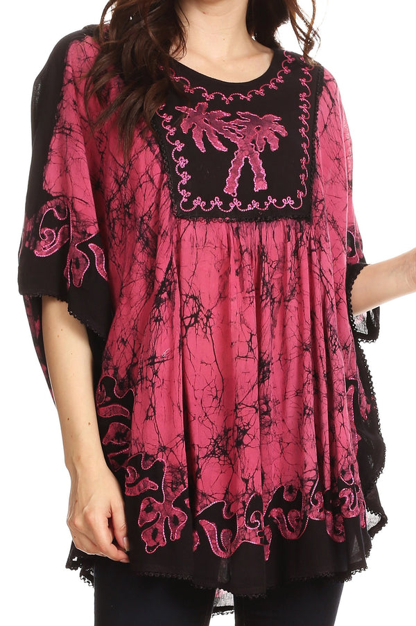 Sakkas Lynda Two Tone Batik Embroidered Palm Tree Peasant Top / Poncho#color_Black / Pink