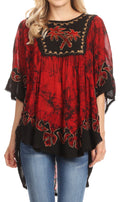 Sakkas Lynda Two Tone Batik Embroidered Palm Tree Peasant Top / Poncho#color_Black / Red
