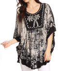 Sakkas Lynda Two Tone Batik Embroidered Palm Tree Peasant Top / Poncho#color_Black / White