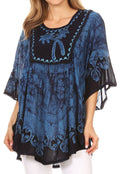 Sakkas Lynda Two Tone Batik Embroidered Palm Tree Peasant Top / Poncho#color_Blue