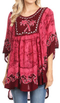 Sakkas Lynda Two Tone Batik Embroidered Palm Tree Peasant Top / Poncho#color_Burgandy
