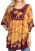 Sakkas Lynda Two Tone Batik Embroidered Palm Tree Peasant Top / Poncho#color_Chocolate