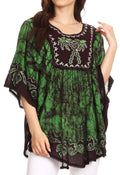 Sakkas Lynda Two Tone Batik Embroidered Palm Tree Peasant Top / Poncho#color_Chocolate / Green
