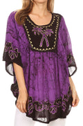 Sakkas Lynda Two Tone Batik Embroidered Palm Tree Peasant Top / Poncho#color_Eggplant
