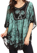 Sakkas Lynda Two Tone Batik Embroidered Palm Tree Peasant Top / Poncho#color_Mint