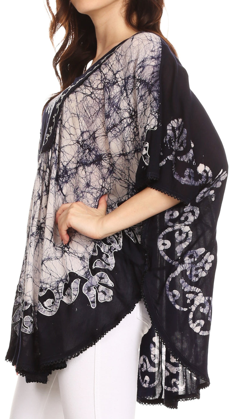 Sakkas Lynda Two Tone Batik Embroidered Palm Tree Peasant Top / Poncho