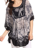 Sakkas Lynda Two Tone Batik Embroidered Palm Tree Peasant Top / Poncho#color_Navy / White