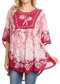 Sakkas Lynda Two Tone Batik Embroidered Palm Tree Peasant Top / Poncho#color_Raspberry
