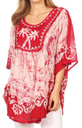 Sakkas Lynda Two Tone Batik Embroidered Palm Tree Peasant Top / Poncho#color_Red