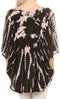 Sakkas Sunia Tie Dye Caftan Sleeve Blouse | Cover Up#color_Black