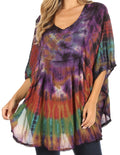 Sakkas Sunia Tie Dye Caftan Sleeve Blouse | Cover Up#color_Brown