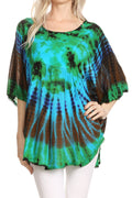 Sakkas Sunia Tie Dye Caftan Sleeve Blouse | Cover Up#color_Mint
