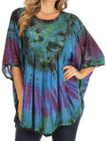 Sakkas Sunia Tie Dye Caftan Sleeve Blouse | Cover Up#color_Royal Blue