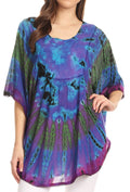 Sakkas Sunia Tie Dye Caftan Sleeve Blouse | Cover Up#color_Turquoise
