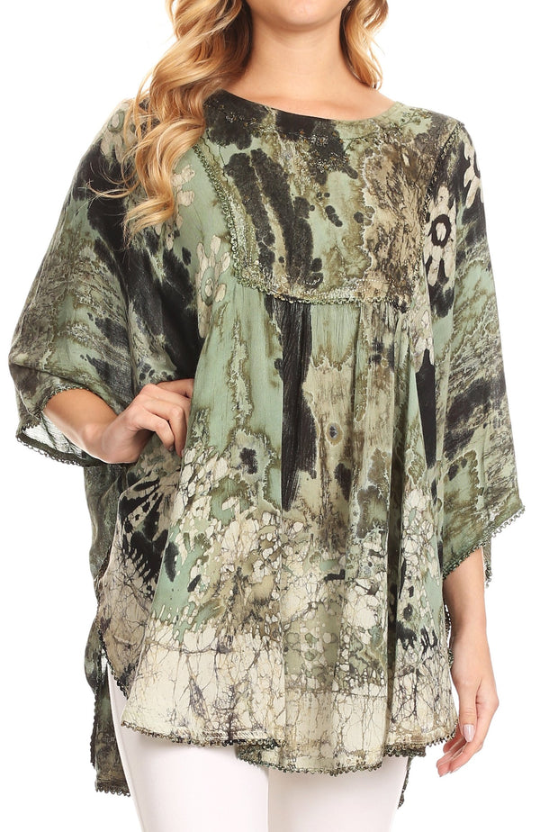 Sakkas Vanya Floral and Palm Tree Batik Circle Top with Sequins and Embroidery#color_Green