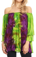 Sakkas Alania Watercolor Tie Dye Double Bell Sleeve Raglan Blouse#color_Green / Purple
