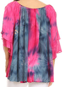 Sakkas Alania Watercolor Tie Dye Double Bell Sleeve Raglan Blouse