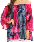 Sakkas Alania Watercolor Tie Dye Double Bell Sleeve Raglan Blouse#color_Pink / Navy
