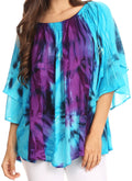 Sakkas Alania Watercolor Tie Dye Double Bell Sleeve Raglan Blouse#color_Turq / Purple