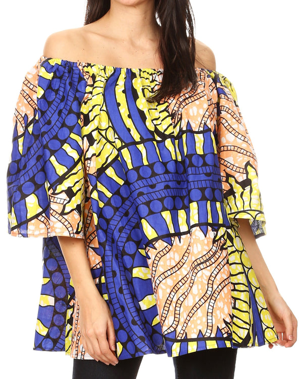 Sakkas Soledad Women's Off Shoulder Short Sleeve Loose Top Blouse African Print#color_13-YellowRoyalPeach