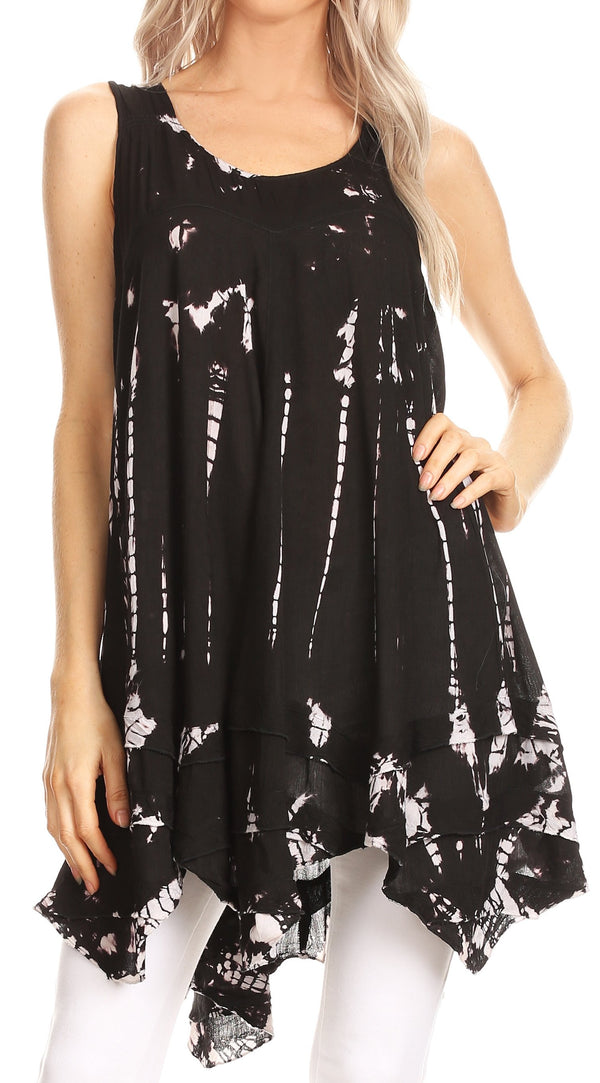 Sakkas Priya Sleeveless Tie Dye Handkerchief Hem Tunic with Smocked Racerback#color_Black