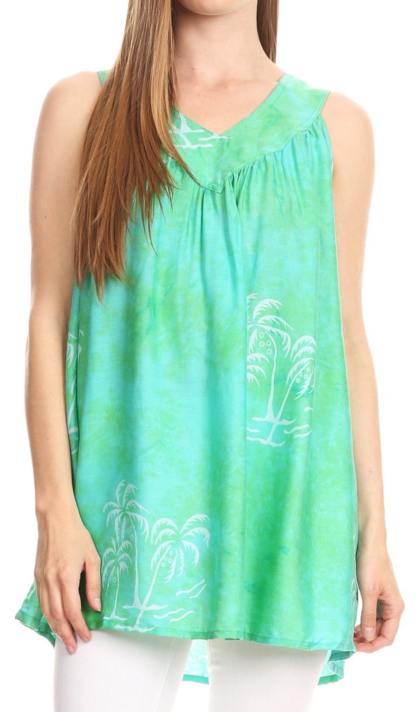 Sakkas Emilia Tie-dye Summer V neck Tank Top Sleeveless Relax Fit Casual#color_Green