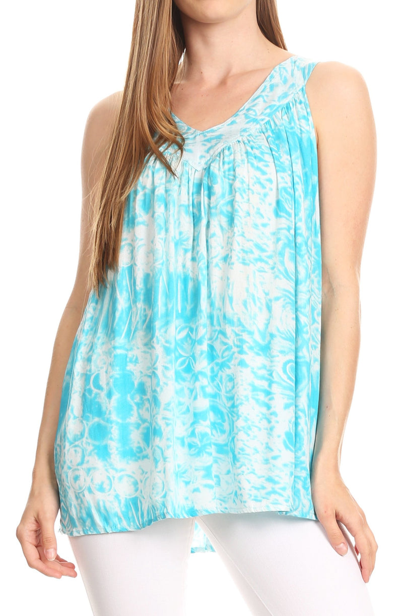 Sakkas Donata Summer Casual Tank Top V-neck Sleeveless Tie-dye with Batik