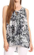 Sakkas Donata Summer Casual Tank Top V-neck Sleeveless Tie-dye with Batik#color_Black