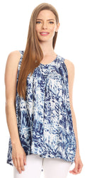 Sakkas Donata Summer Casual Tank Top V-neck Sleeveless Tie-dye with Batik#color_Navy